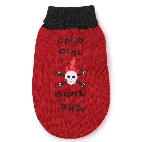East Side Collection Acrylic Good Girl Gone Bad Dog Sweater, X-Small, 10-Inch, Red, My Pet Supplies