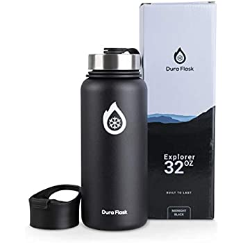 DuraFlask Explorer Double-Wall Vacuum Insulated Water Bottle (32oz) w/3 Thermal Optimizing Layers - Copper Dipped & 18/8 Stainless Steel Water Bottle Keeps Drinks & Food at Ideal Temperature Longer