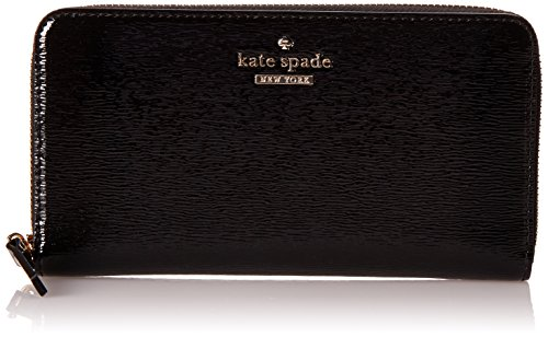 Kate Spade New York Cedar Street Patent Lacey Checkbook Wallet Black One Size by Kate Spade New York