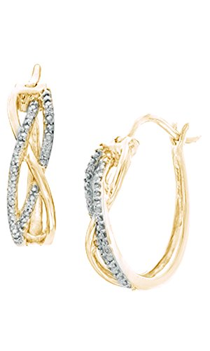 White Natural Diamond Accent Overlay Hoop Earrings In 14K Yellow Gold Over Sterling Silver ()