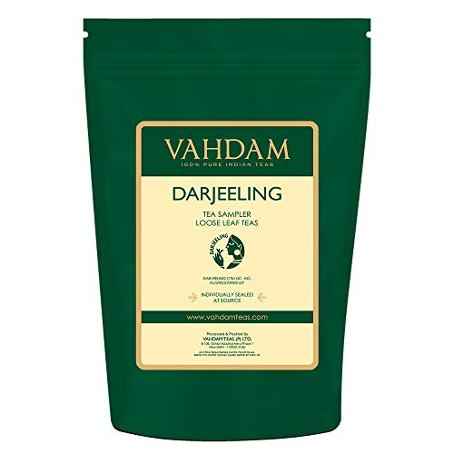 VAHDAM, Darjeeling Tea Sampler - 10 TEAS, 50 Servings | 100% Pure Unblended Darjeeling Tea Loose Leaf | Darjeeling First Flush & Second Flush - Brew Hot or Iced - Tea Variety Pack, 3.53oz