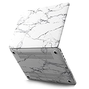 """MacBook Pro 13 Retina Case, Kuzy Rubberized Hard Case for MacBook Pro 13.3"""" with Retina Display Model: A1502 / A1425 Shell Cover - Marble Pattern WHITE-GRAY"""