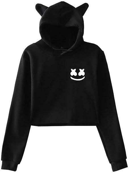 FLYCHEN Sudadera con Capucha para Mujer con Logo Marshmello DJ Música Electrónica Hip Hop Manga Corta Estilo Orejas de Gato Lindo: Amazon.es: Ropa y ...