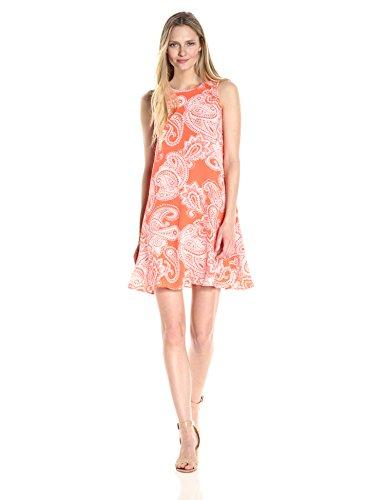 Sandra Darren Womens Sleeveless Printed Crinkled Crepe Trapeze Dress
