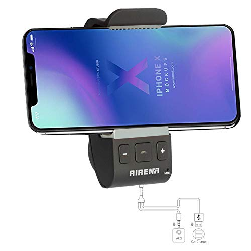 Hands Free Bluetooth Car Kit, Bluetooth Car Audio Adapter for Car, AIRENA Hands Free Bluetooth Cell Phone Holder Kit for iPhone X 8 7 6 Plus & Galaxy S9 S8 S7 Note 8 7 6 and More (Best Handsfree For Mobile)