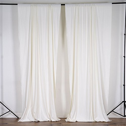 BalsaCircle 10 ft x 10 ft Cream Ivory Polyester Photography Backdrop Drapes Curtains Panels - Wedding Decorations Home Party Reception Supplies
