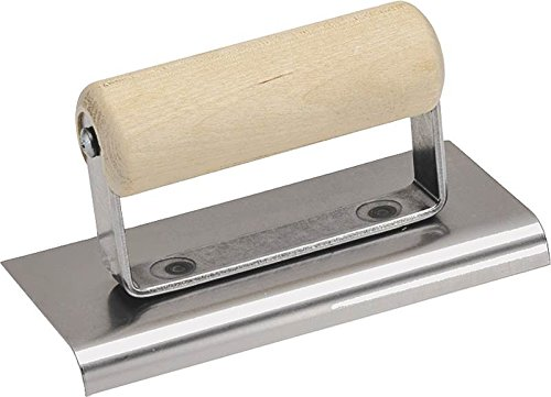 QLT By MARSHALLTOWN CE505S 6-Inch by 3-1/2-Inch Stainless Steel Edger 3/8-Inch Radius 1/2-Inch Lip with Wood Handle