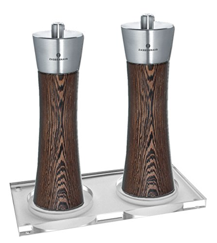 Zassenhaus Pepper & Salt Mill Set, Wenge, 7.0 Inch, with Stand by Zassenhaus Germany