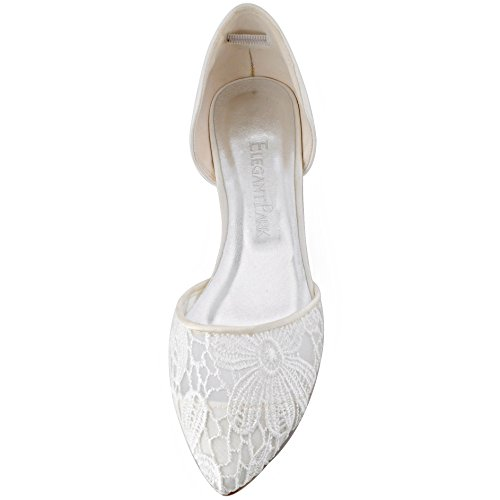ElegantPark Women Comfort Heel Pointed Toe Lace Bridal Wedding Flats Ivory 2DDG6CStoP