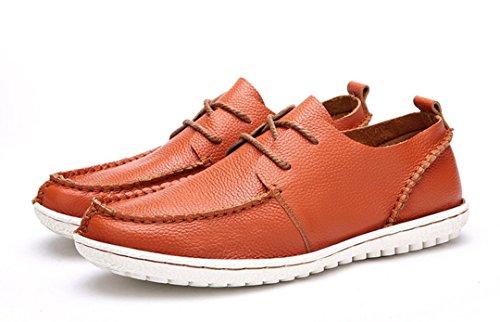 Tda Mens Bekväm Kontrast Sömmar Snörning Läder Drivande Företag Klänning Dagdrivare Båt Skor Apelsin
