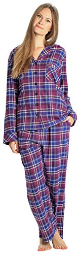 EVERDREAM Sleepwear Womens Flannel Pajamas, Long 100% Cotton Pj Set,Size Large Purple