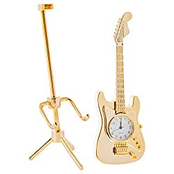 Broadway Gift Electric Guitar On Tripod Stand Shaped Goldtone 5.5 x 3 Decorative Table Top Clock