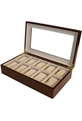 Watch Box for 10 Watches Cherry Matte Finish XL Extra Large Compartments Soft Cushions Clearance Window