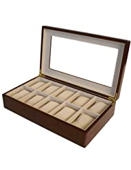 Tech Swiss 10 Watch Box for XL Watches Cherry Wood Finish