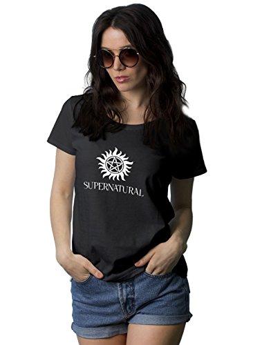 Decrum Womens Black Supernatural Tee Shirt - Supernatural