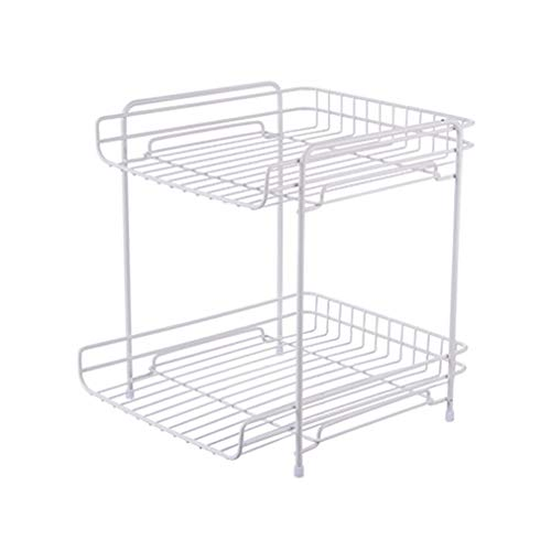 LSXUE Double Wrought Iron Frame Kitchen Spice Rack Condiment Storage Rack Bathroom Organizer (Color : White)