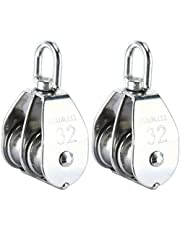 DasMarine 2 Pack Double Pulley Block in 304 Stainless Steel Crane Swivel Hook Double Pulley Roller Loading (M32)