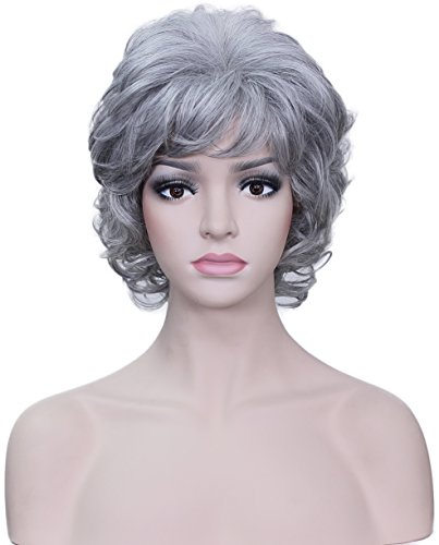 Deifor Older Women Short Messy Curly Synthetic Hair High Temperatuer Natural As Real Hair Wigs for Daily Use (Silver White)]()