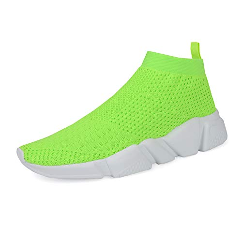 WXQ Women's Athletic Walking Shoes Lightweight Fashion Sneakers Breathable Flyknit Running Shoes Green 37 -