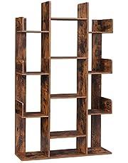 VASAGLE Bookshelf, Tree-Shaped Bookcase with 13 Storage Shelves, Rounded Corners