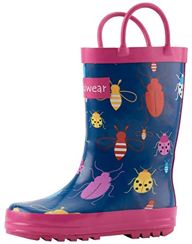 OAKI Oakiwear Kids Rubber Rain Boots with Handles, Bees & Ladybugs, 9T US Toddler