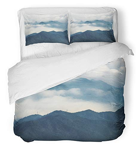 Emvency Bedsure Duvet Cover Set Closure Printed Decorative Colorful China Sunrise Mountain Scenery Green Mist Autumn Beautiful Beauty Breathable Bedding Set With 2 Pillow Shams Twin Size