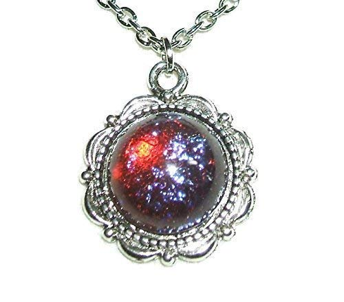 - DRAGONS BREATH NECKLACE Pendant CZECH GLASS MEXICAN OPAL Stone Red Blue Silver Plt