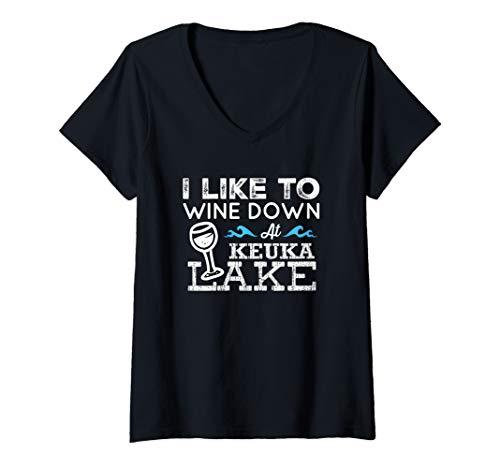 Womens Wine Down at Keuka Lake Finger Lakes Wine Lover Lake Life V-Neck T-Shirt ()