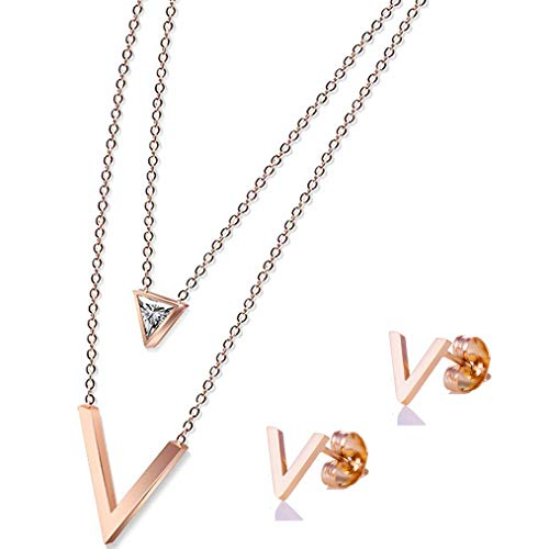 (Showfay 18k Rose Gold Pendant Necklace Crystal from Swarovski Stainless Steel Jewelry Gifts for Women (Triangle))