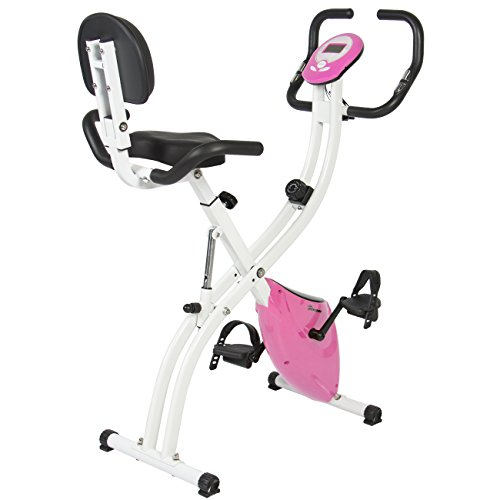Best Choice Products Folding Adjustable Magnetic Upright Exercise Bike Fitness Upgraded Machine Pink