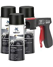 Peinture aérosol Kroma noir mat spray vernis résistante à l'essence pulvérisateur 3x 400 ml + 1x poignée originale pour bombes aérosols