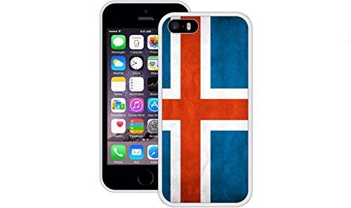 Island Flagge | Handgefertigt | iPhone 5 5s SE | Weiß TPU Hülle