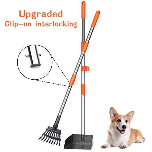 Babyltrl Dog Pooper Scooper, Stainless Metal Pet Poop Tray and Rake with Adjustable Long Handle, Pet Waste Removal Pooper Scooper for Large and Small Dogs