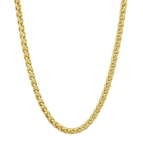 14k Braid Necklace (6mm 14k Gold Plated Wheat Chain Necklace, 20