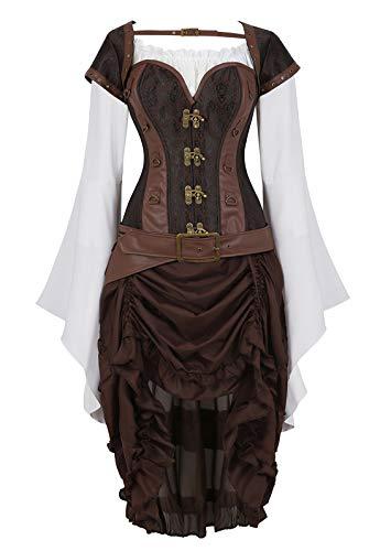 Zhitunemi Women Steampunk Corset Dress Medieval Peasant Chemise Costume Victorian Saloon Girl Dresses Brown 6X-Large -