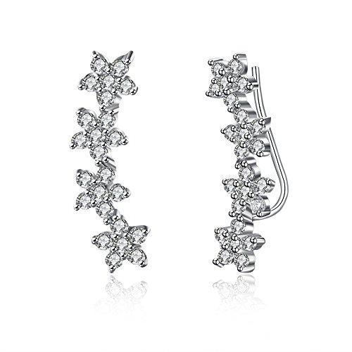 Dtja Flower Cuff Wrap Climber Crawler CZ Earrings for Women Girls Cartilage Crystal Cluster S925 Sterling Silver Cubic Zirconia Hypoallergenic Ear Studs
