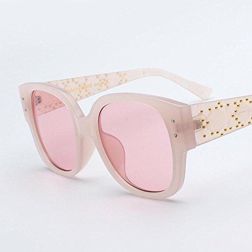 Aoligei Rivet cadre grande marée féminine de lunettes de soleil lunettes de soleil mode ronde visage lunettes de soleil K10NiVdT0