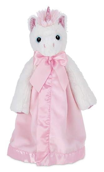 White and Pink Unicorn Plush Stuffed Bearington Baby Dreamer Belly Blanket