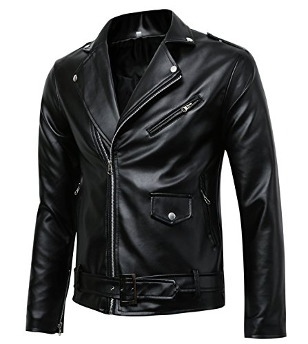 Men's Classic Police Style Faux Leather Motorcycle Jacket, Black, - Leather Style Mens