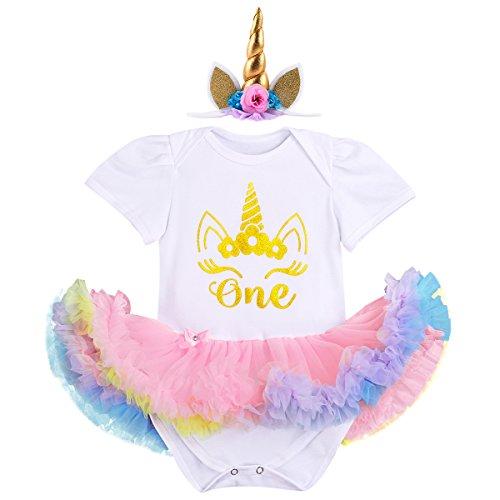 IBTOM CASTLE Little Girl Newborn It's My 1st Birthday Cake Smash Outfits Romper+Shoes+Headband Tutu Baby Princess Dress Set 3pcs White+Gold unicorn 6-12 (1st Birthday Iron)