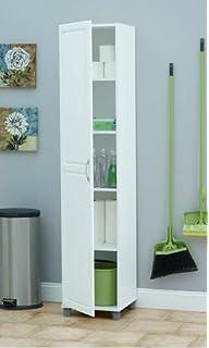 Amazon.com: Topeakmart 3 Tier White Single Door Narrow Utility ...