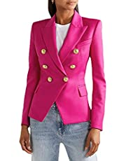 BIAOCDG.US.STORE Women Casual Long Sleeve Blazer Open Front Lapel Work Office Jacket Suit,Buttons Work Office Blazer Suit