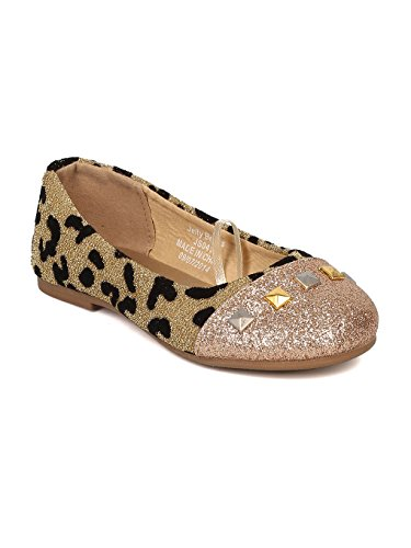 - Alrisco Girls Mixed Media Giraffe Print Capped Toe Studded Ballerina Flat HA84 - Gold Mix Media (Size: Toddler 9)