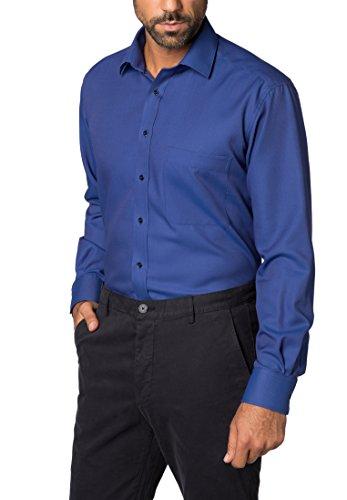 ETERNA long sleeve Shirt COMFORT FIT Textured weave checked azul marino