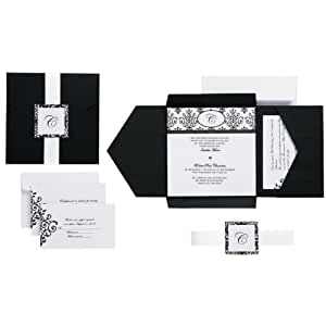 Wilton Black and White Scroll Monogram Pocket Invitation Kit