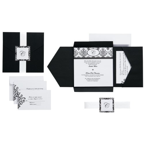 Wilton Black & White Scroll Monogram Pocket Invitation - Wilton Outlet
