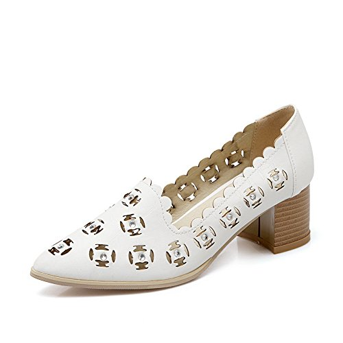 BalaMasa Girls tempestato di strass in pelle Pull-On imitato tacco pumps-shoes, Bianco (White), 38