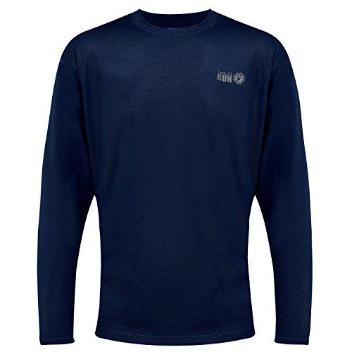 "Time To Run Men's Favourite Long Sleeve Running Gym T Shirt Top XXL 47""- 50"" Navy"