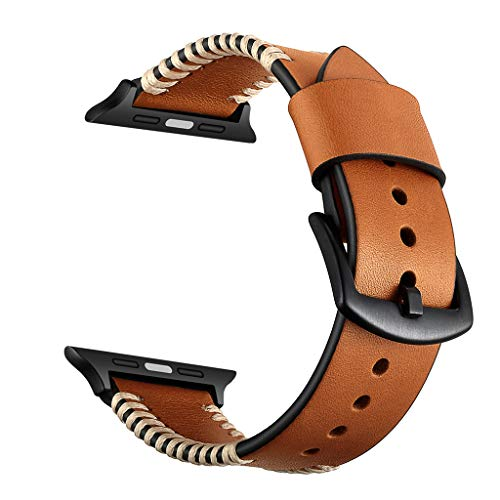 AutumnFall New Leather Watch Band Strap Metal Buckle for Apple Watch Series 4/3/2/1 38MM/40MM (Brown)