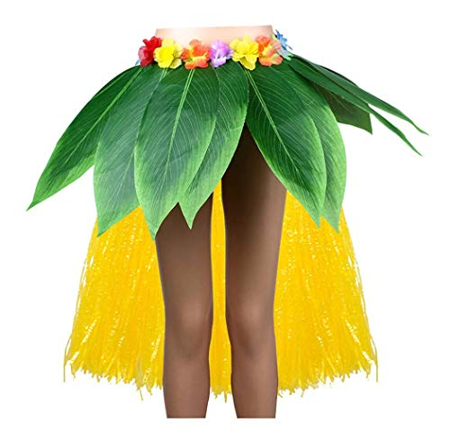 Ti Leaf Hula Skirt with Hula Grass Hawaiian Leis Set Grass Skirt with Artificial Hibiscus Flowers for Hula Costume and Beach Party]()